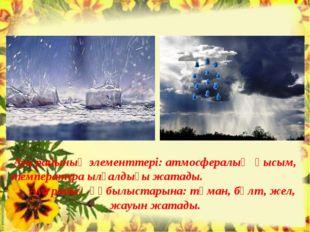 Ауа райының элементтері: атмосфералық қысым, температура ылғалдығы жатады. Ау
