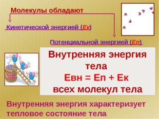 Молекулы обладают Кинетической энергией (Ек) Потенциальной энергией (Еп) Вну