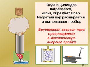 Вода в цилиндре нагревается, кипит, образуется пар. Нагретый пар расширяется