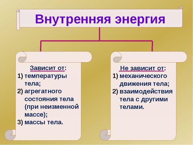 Внутренняя энергия Зависит от: температуры тела; агрегатного состояния тела (...