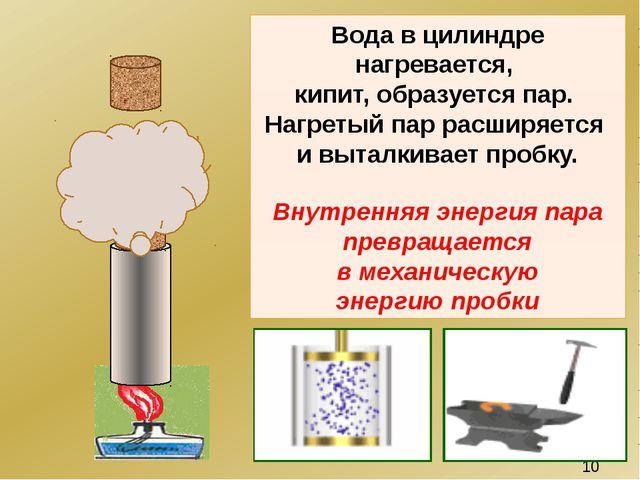 Вода в цилиндре нагревается, кипит, образуется пар. Нагретый пар расширяется...