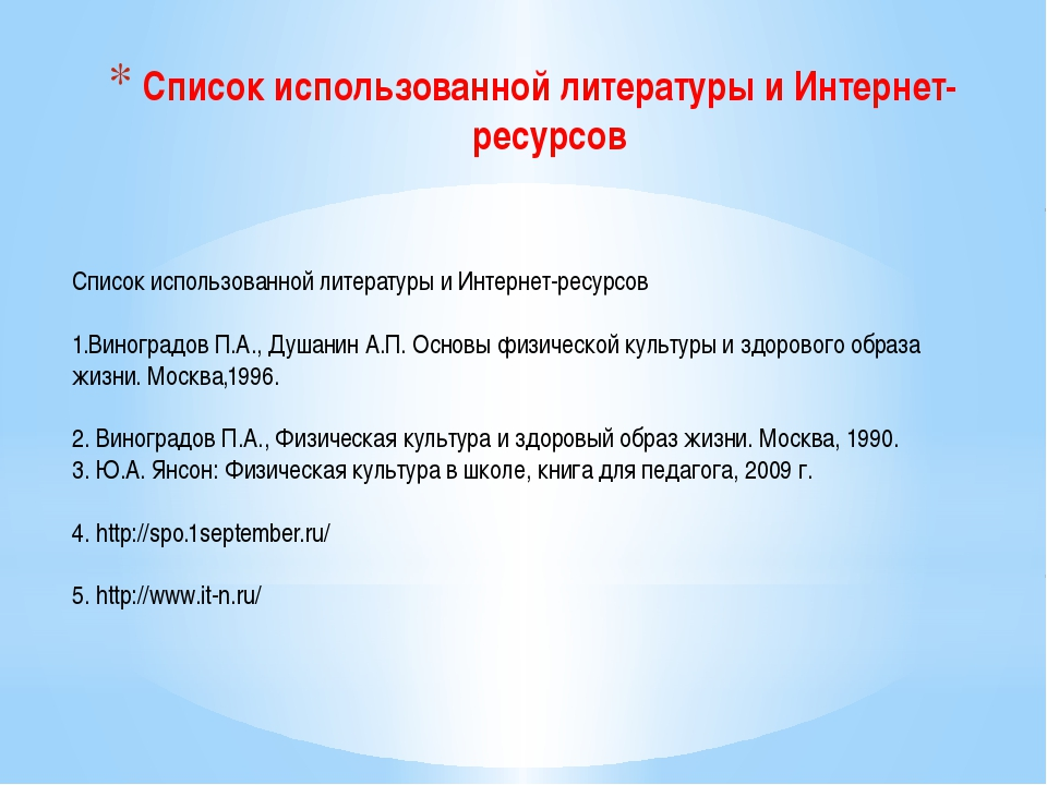 Список использованной литературы и Интернет-ресурсов Список использованной ли...