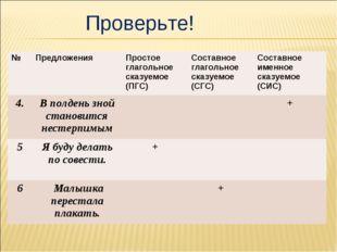 Проверьте! №Предложения Простое глагольное сказуемое (ПГС)Составное глаго