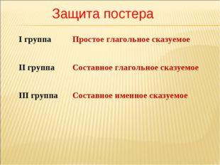 Защита постера І группаПростое глагольное сказуемое ІІ группаСоставное глаг