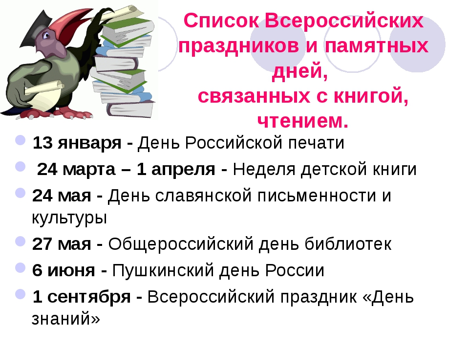 Список Всероссийских праздников и памятных дней, связанных с книгой, чтением....