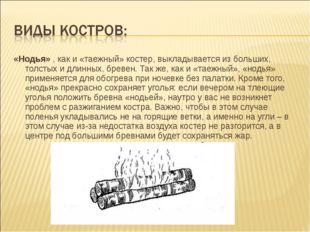 «Нодья», как и «таежный» костер, выкладывается из больших, толстых и длинных