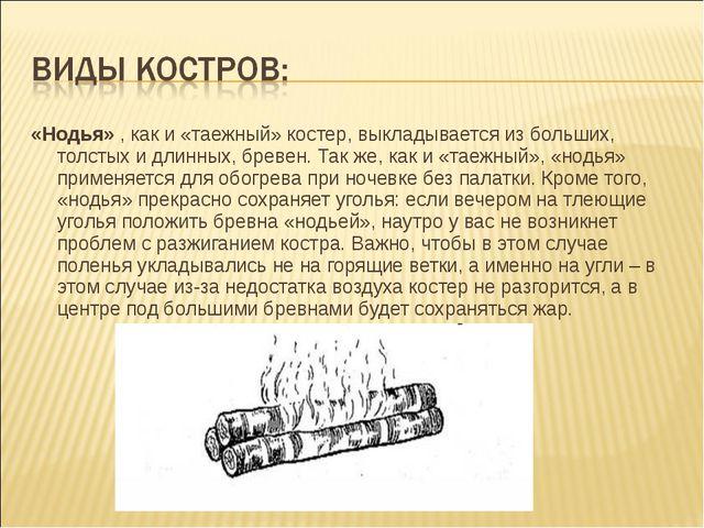 «Нодья», как и «таежный» костер, выкладывается из больших, толстых и длинных...