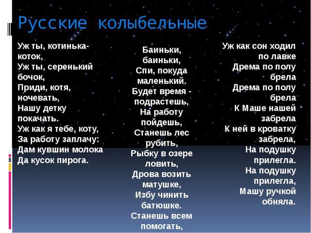 Русские колыбельные Уж ты, котинька-коток, Уж ты, серенький бочок, Приди, кот...