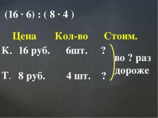 (16 ∙ 6) : ( 8 ∙ 4 ) Цена Кол-во Стоим. К. Т. 16 руб. 6шт. ? 8 руб. 4 шт. ? в