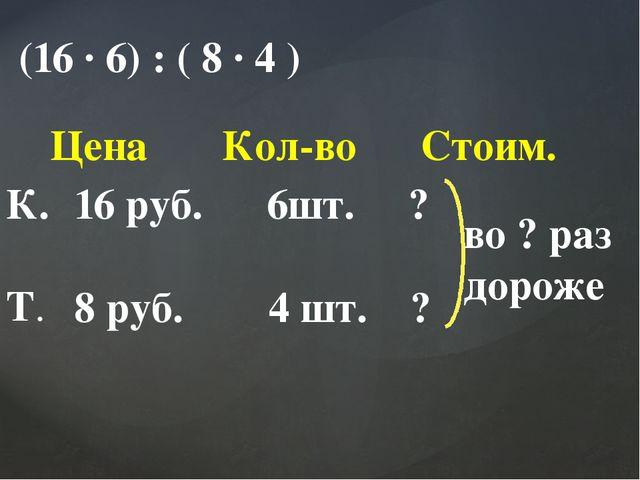 (16 ∙ 6) : ( 8 ∙ 4 ) Цена Кол-во Стоим. К. Т. 16 руб. 6шт. ? 8 руб. 4 шт. ? в...