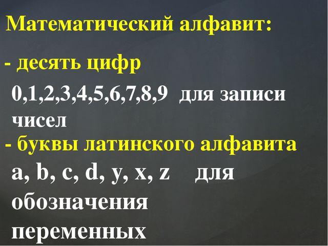 Математический алфавит: - десять цифр 0,1,2,3,4,5,6,7,8,9 для записи чисел -...
