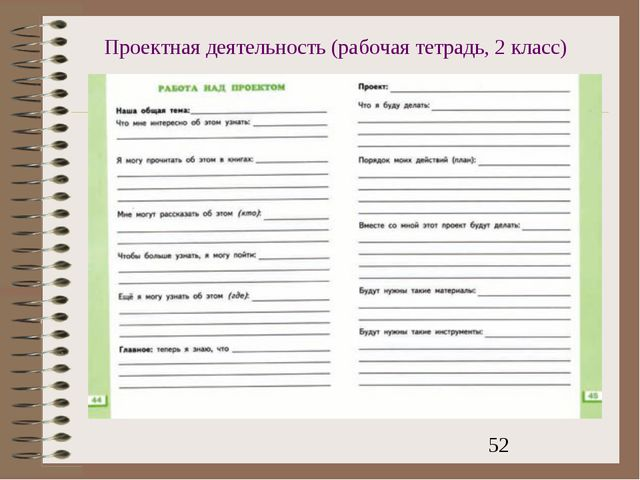 Проектная деятельность (рабочая тетрадь, 2 класс)