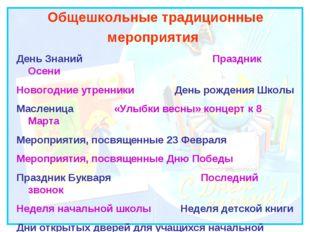 Общешкольные традиционные мероприятия День Знаний Праздник Осени Новогодние у