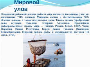 Мировой улов Основными районами вылова рыбы и мире являются шельфовые участки