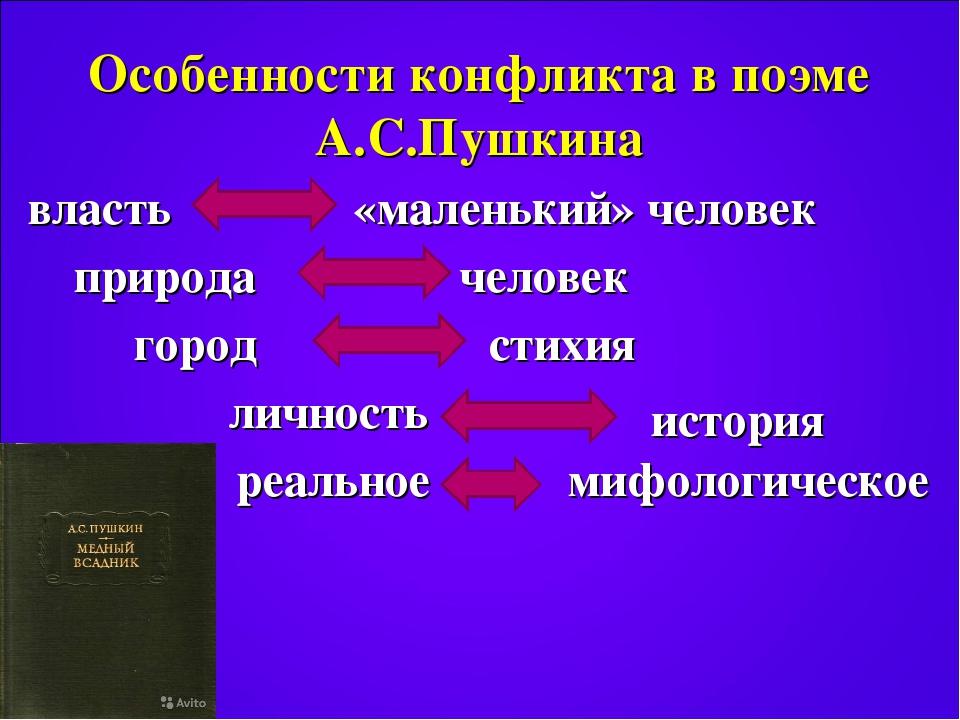 Особенности конфликта в поэме А.С.Пушкина власть «маленький» человек природа...