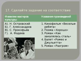 17. Сделайте задание на соответствие Фамилии мастеров культуры Названия произ