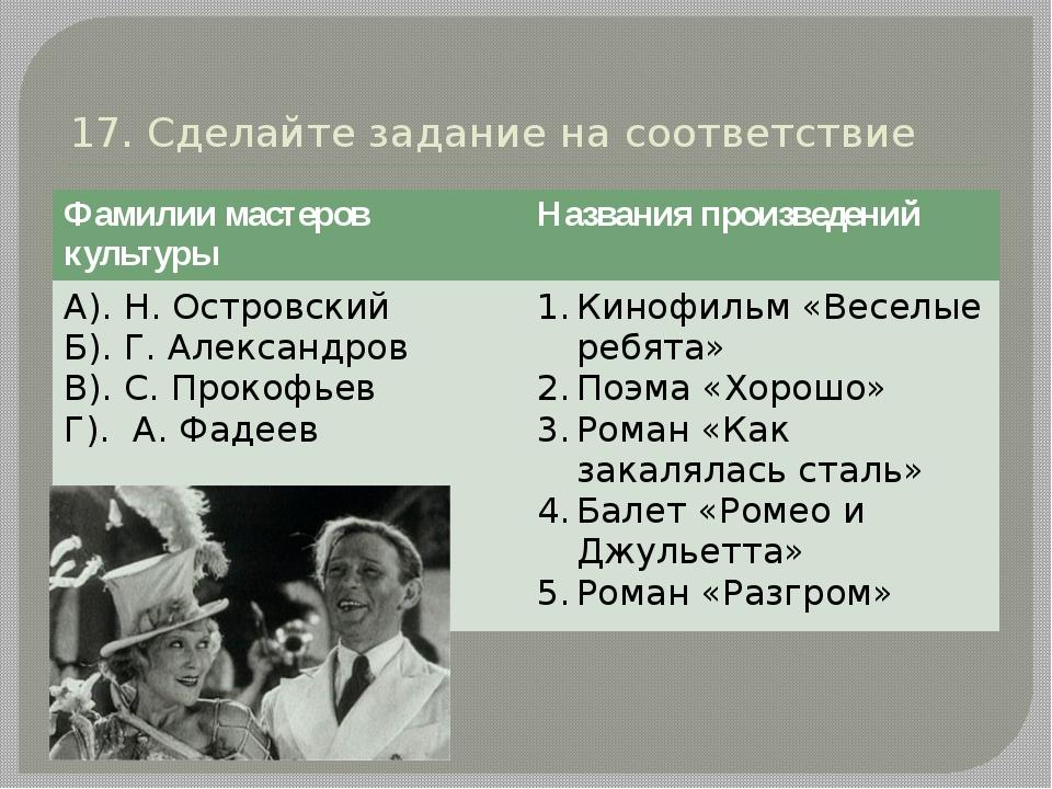 17. Сделайте задание на соответствие Фамилии мастеров культуры Названия произ...