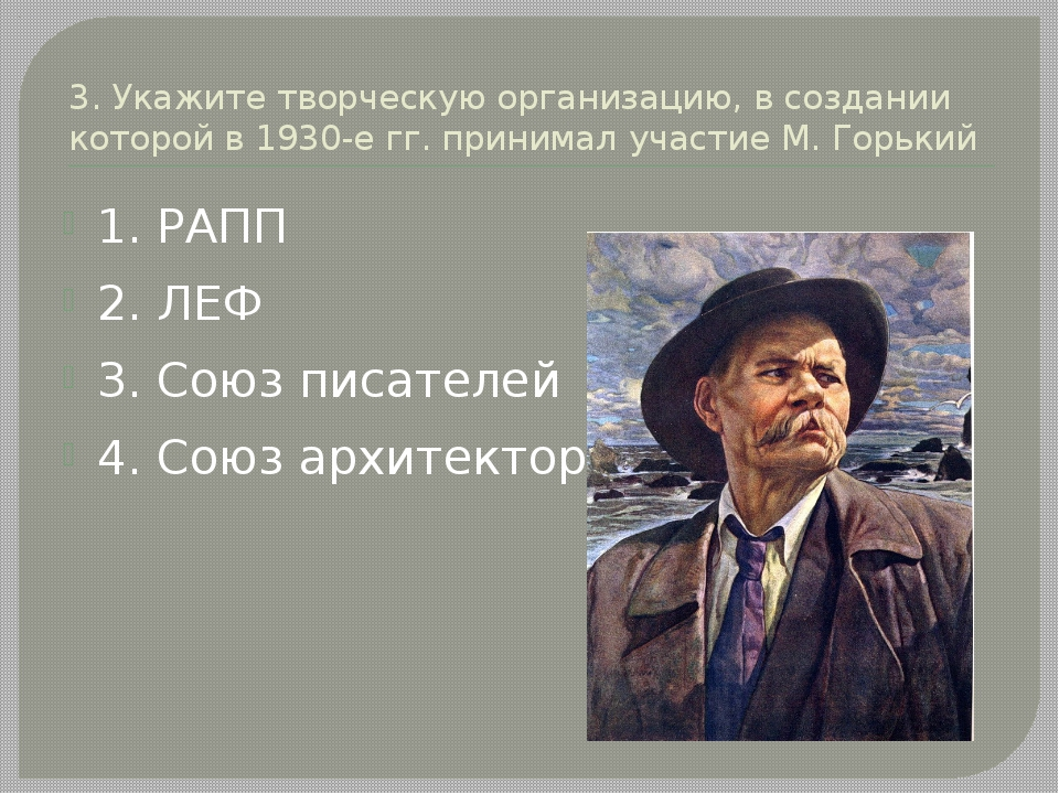 3. Укажите творческую организацию, в создании которой в 1930-е гг. принимал у...