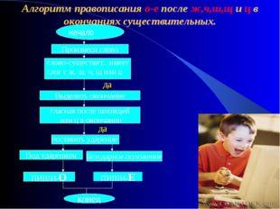 Алгоритм правописания о-е после ж,ч,ш,щ и ц в окончаниях существительных. нач