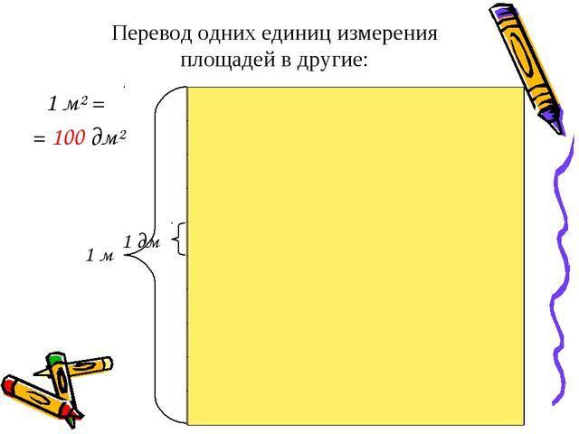 Перевод одних единиц измерения площадей в другие: 1 м² = = 100 дм² 1 м 1 дм