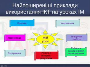 Мій урок Найпоширеніші приклади використання ІКТ на уроках ІМ Проекти Робота