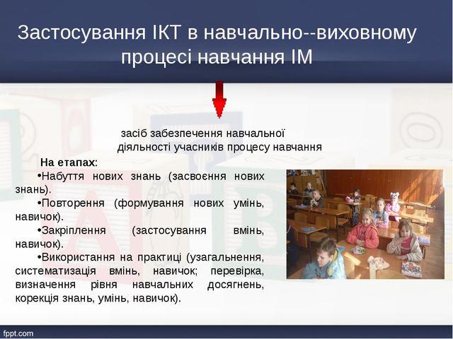 Застосування ІКТ в навчально-виховному процесі навчання ІМ На етапах: Набутт...
