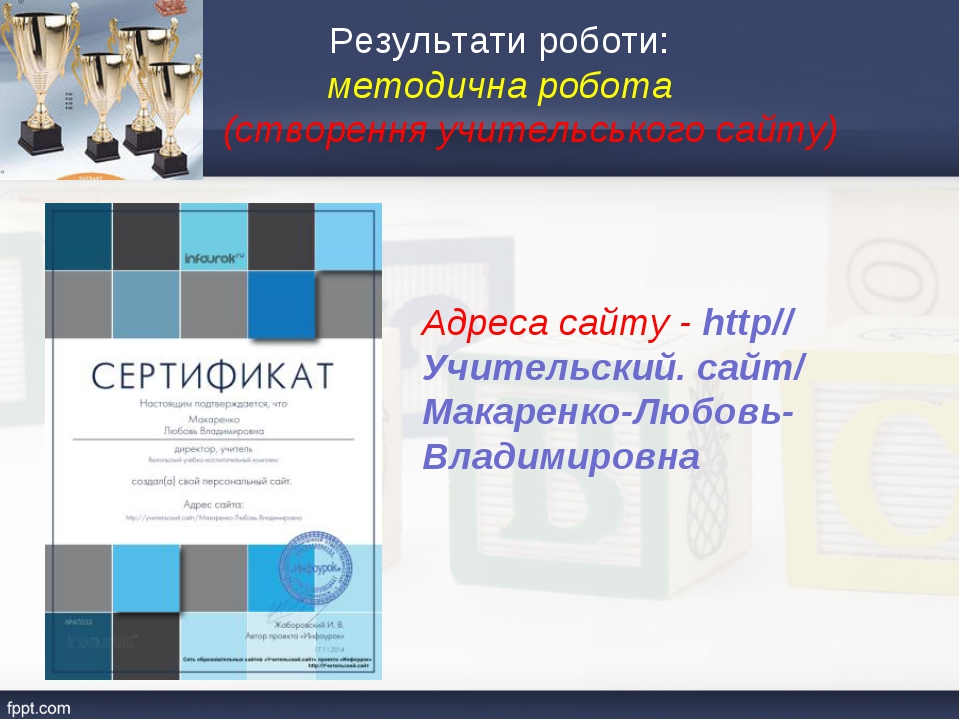 Результати роботи: методична робота (створення учительського сайту) Адреса са...