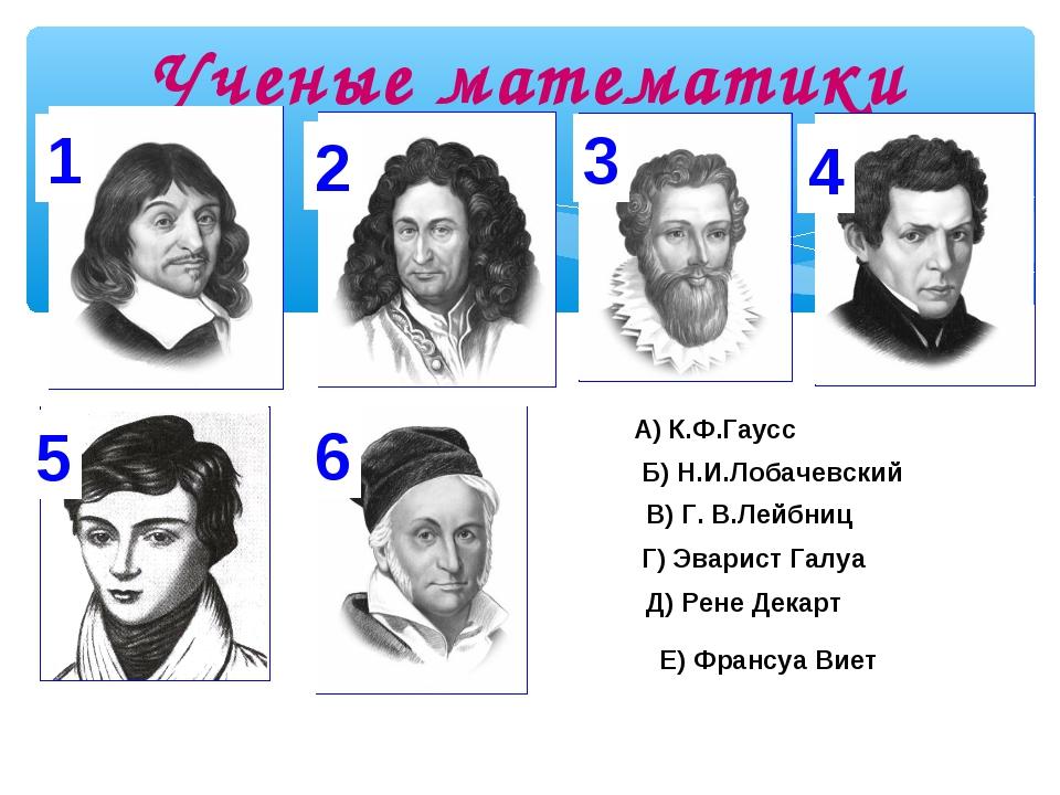 Ученые математики 1 2 3 4 5 6 Д) Рене Декарт В) Г. В.Лейбниц Е) Франсуа Виет...