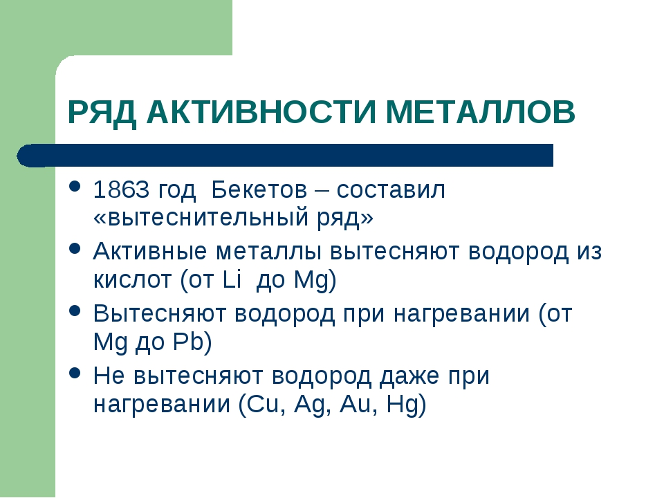 РЯД АКТИВНОСТИ МЕТАЛЛОВ 1863 год Бекетов – составил «вытеснительный ряд» Акти...