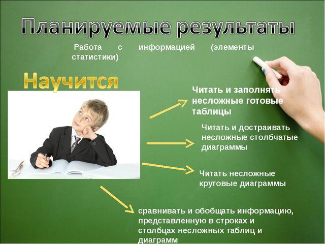 Работа с информацией (элементы статистики) Читать и заполнять несложные гото...