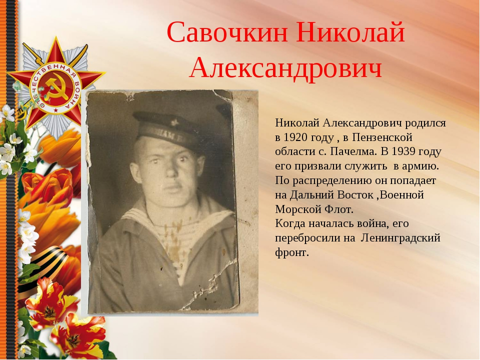 Савочкин Николай Александрович Николай Александрович родился в 1920 году , в...