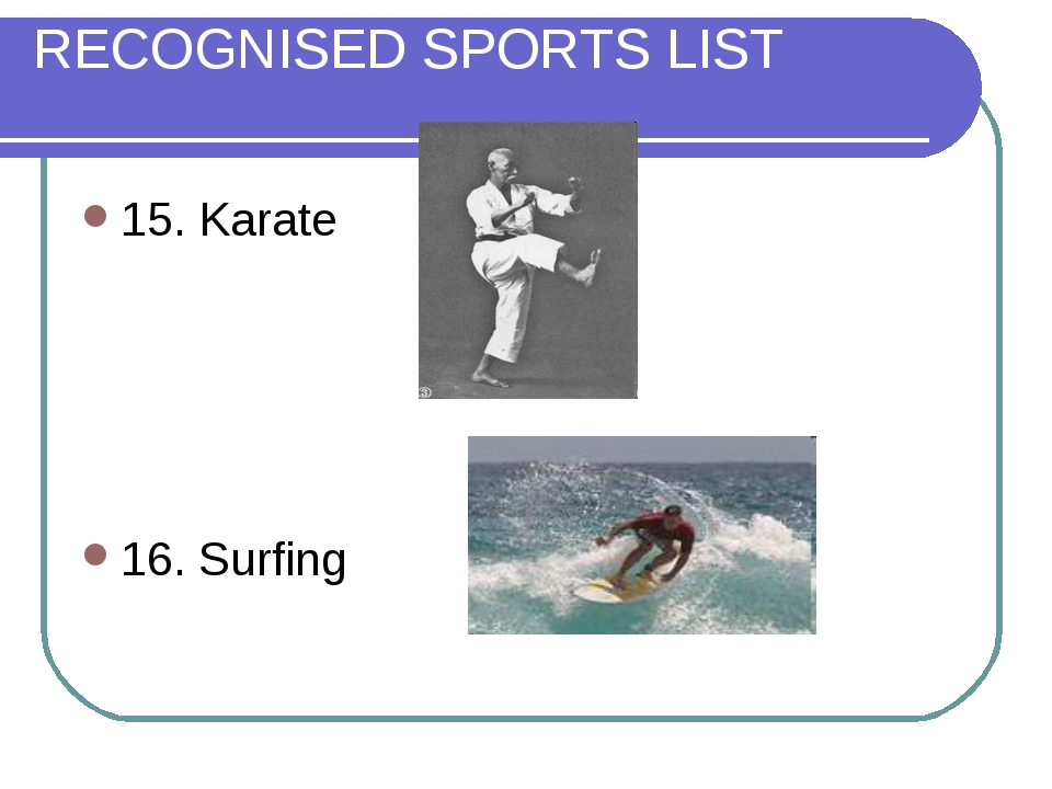 RECOGNISED SPORTS LIST 15. Karate 16. Surfing