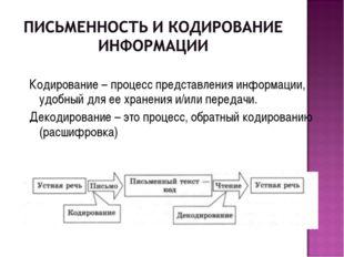 Кодирование – процесс представления информации, удобный для ее хранения и/или