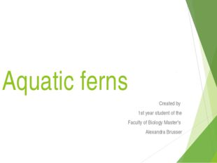 Aquatic ferns Сreated by 1st year student of the Faculty of Biology Master's