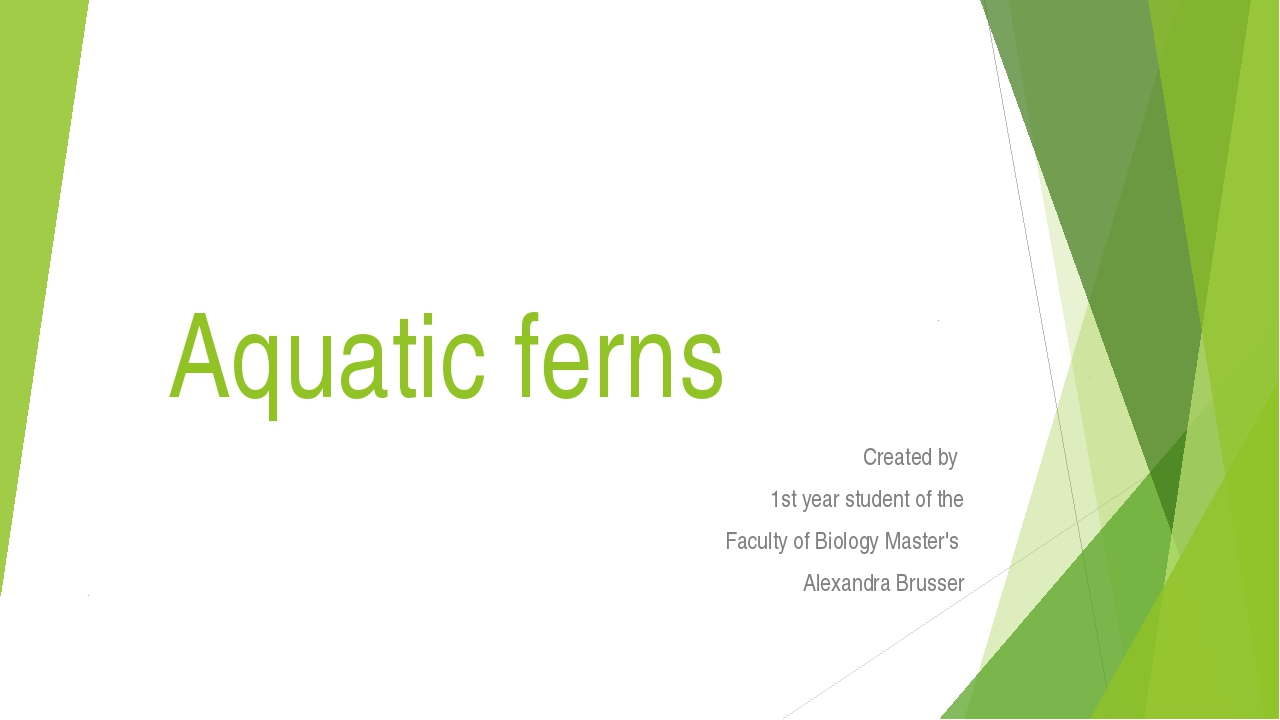 Aquatic ferns Сreated by 1st year student of the Faculty of Biology Master's...