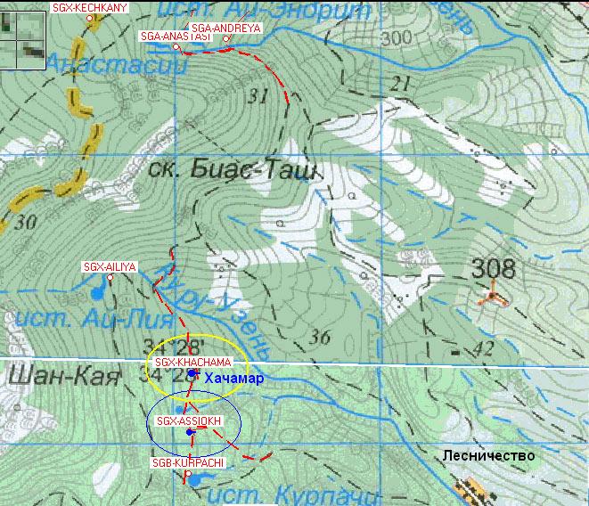 Карта юго-восточного склона Демерджи