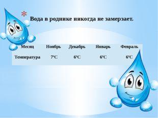 Вода в роднике никогда не замерзает. Месяц Ноябрь Декабрь Январь Февраль Тем