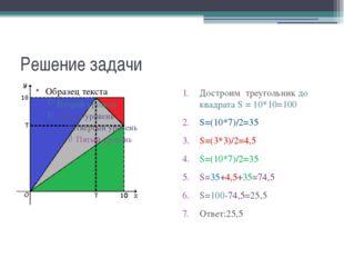 Решение задачи Достроим треугольник до квадрата S = 10*10=100 S=(10*7)/2=35 S