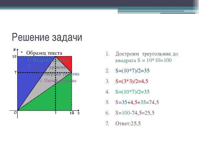 Решение задачи Достроим треугольник до квадрата S = 10*10=100 S=(10*7)/2=35 S...