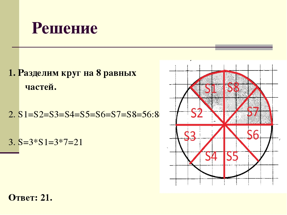 Решение 1. Разделим круг на 8 равных частей. 2. S1=S2=S3=S4=S5=S6=S7=S8=56:8=...