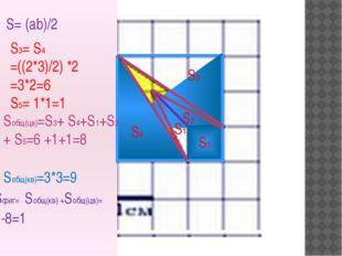 S= (ab)/2 S2 S1 S3 S4 S3= S4 =((2*3)/2) *2 =3*2=6 S5= 1*1=1 Sобщ(цв)=S3+ S4+