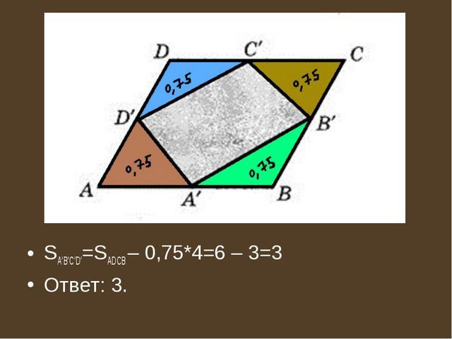 SA'B'C'D'=SADCB – 0,75*4=6 – 3=3 Ответ: 3.