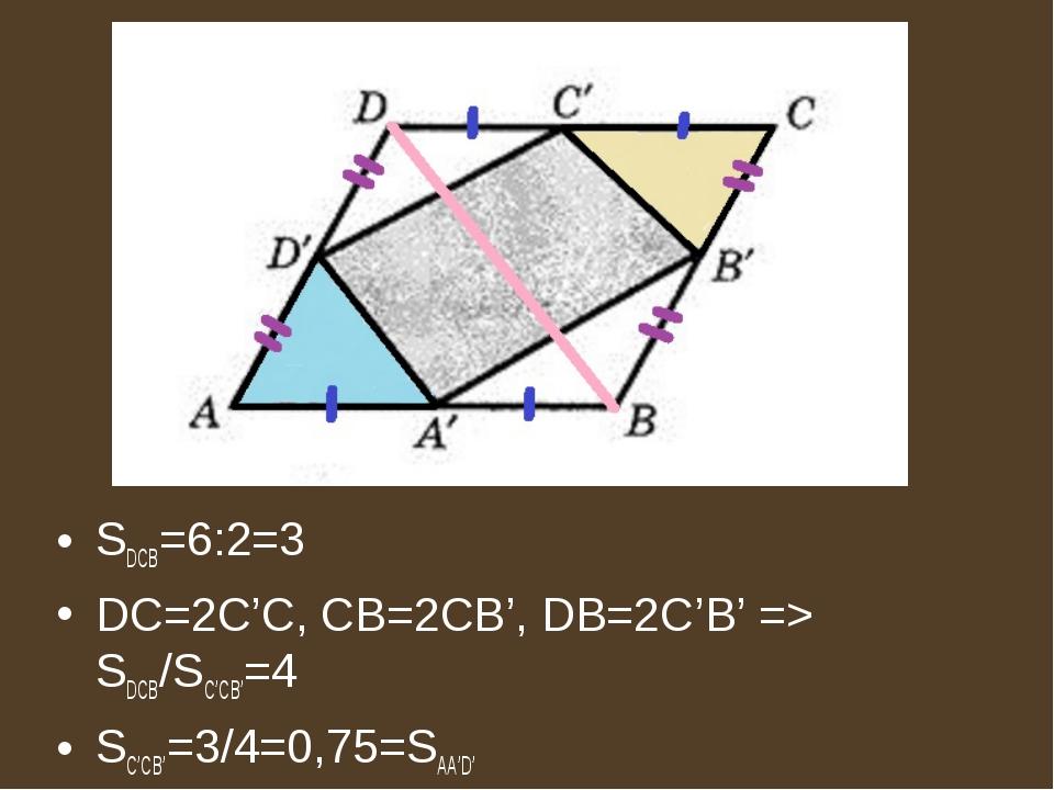 SDCB=6:2=3 DC=2C'C, CB=2CB', DB=2C'B' => SDCB/SC'CB'=4 SC'CB'=3/4=0,75=SAA'D'
