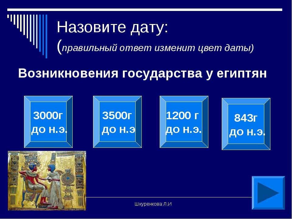 Шкуренкова Л.И Назовите дату: (правильный ответ изменит цвет даты) Возникнове...
