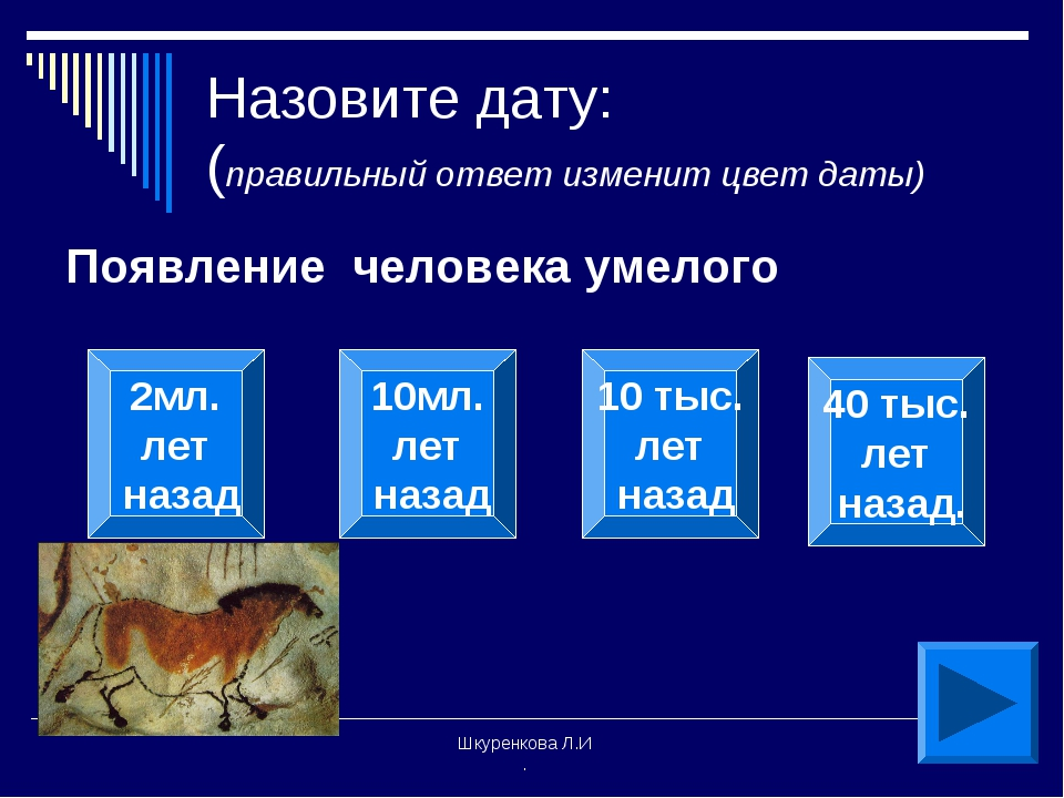 Шкуренкова Л.И . Назовите дату: (правильный ответ изменит цвет даты) Появлени...