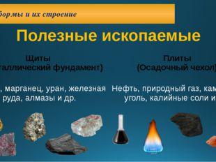 Платформы и их строение Полезные ископаемые Щиты (кристаллический фундамент)