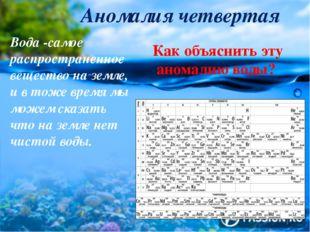 Аномалия четвертая Вода -самое распространенное вещество на земле, и в тоже