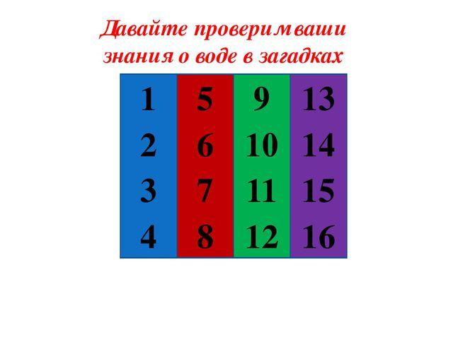 Давайте проверим ваши знания о воде в загадках 1 2 3 4 5 15 7 8 9 10 12 11 1...