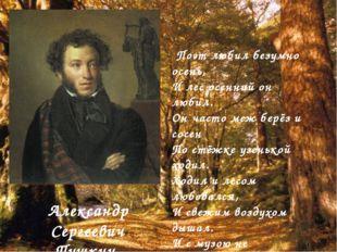 Поэт любил безумно осень, И лес осенний он любил. Он часто меж берёз и сосен