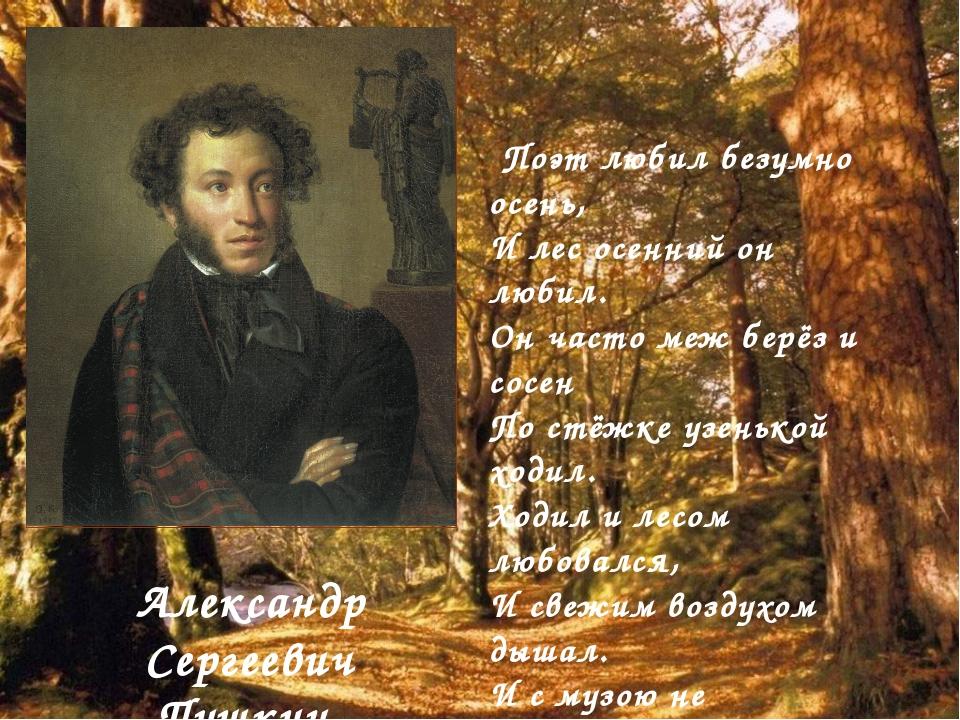 Поэт любил безумно осень, И лес осенний он любил. Он часто меж берёз и сосен...